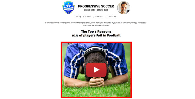 Progressive Soccer Training printscreen homepage