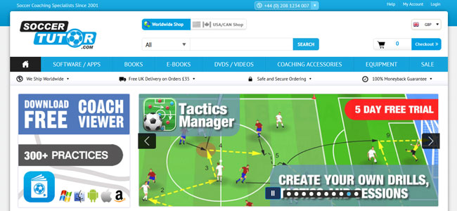 Soccer-Tutor printscreen homepage