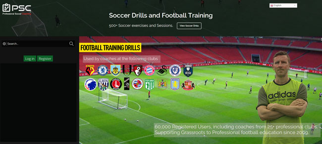 Professional Soccer Coaching printscreen homepage